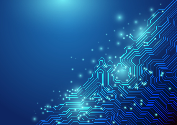 Abstract-lines-technology-on-blue-background-chipset-concept-vector